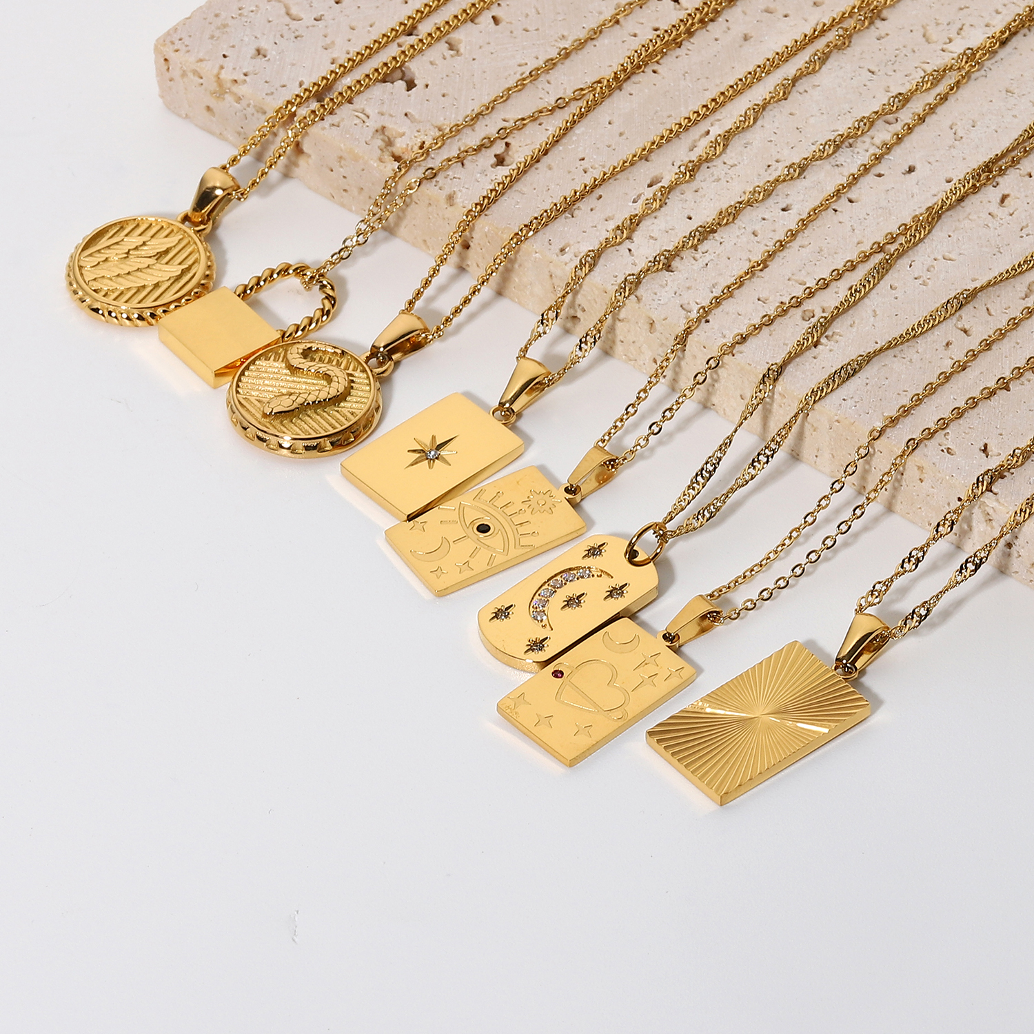New18k Gold Plated Stainless Steel Free Wing Greek mythology Necklace Square Shina myth Tarot Signet Pendant Necklace  For Women