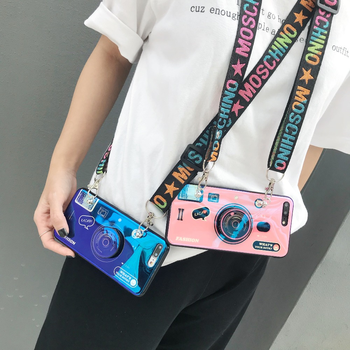 Camera retro diagonal mobile phone case with lanyard for iPhoneX XR XS 7 8Plus3D with stand silicone mobile case for SamsungS8S9