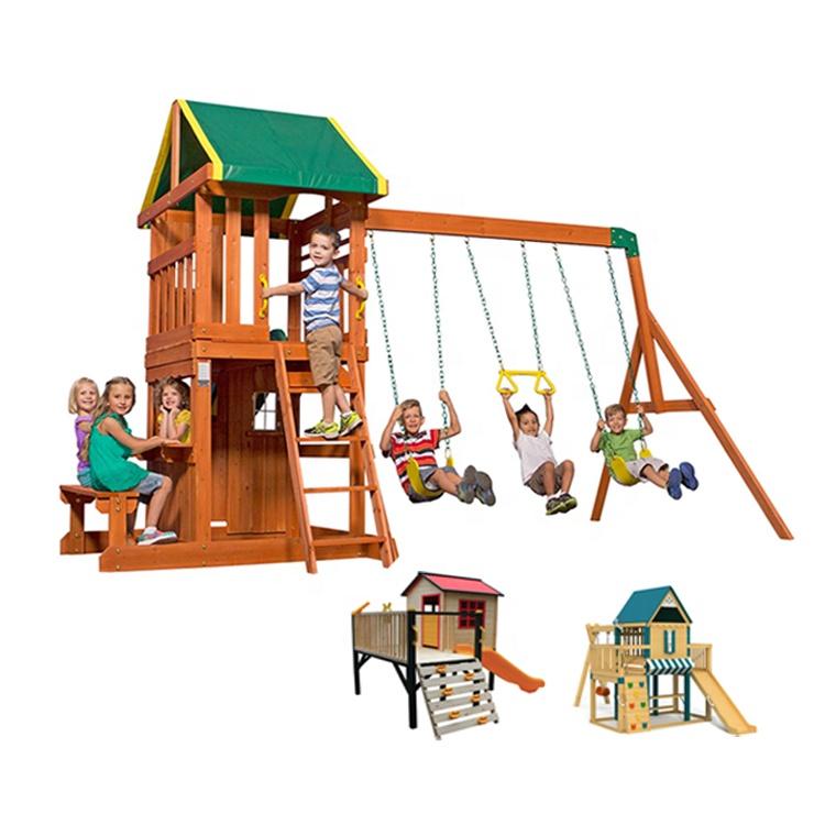 Kids Wooden Play house Children Wooden House Wood Swing Set
