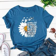 Женская футболка с рисунком хризантем eliiiya, хлопковая Футболка с графическим принтом, летние футболки 5XL(China)