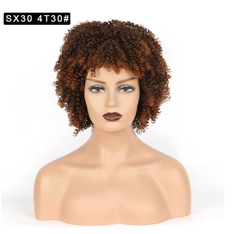 Bangs wig lady chemical fiber hair high temperature silk head small curly hair Africa fine production