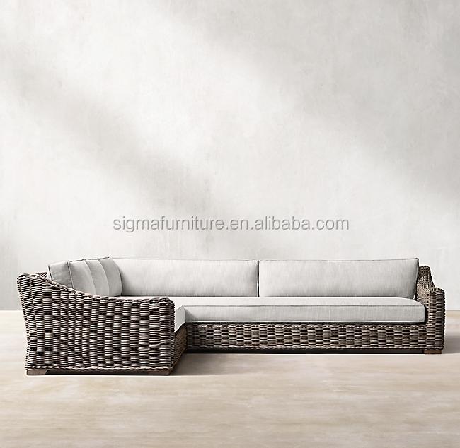 Набор садовой мебели из ротанга, гостиничный наружный Плетеный, для внутреннего дворика, для любой погоды, секционные L-образные диваны из ПЭ ротанга с левой ручкой