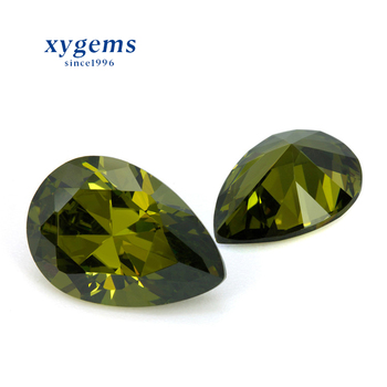 Hot Sale Water Drop Cut Pear Shape Fake Natural Olive Green Diamond Loose Gemstone Cubic Zirconia Gems