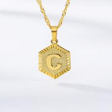 A-Z ожерелье из нержавеющей стали с буквенным принтом, Трендовое ожерелье с алфавитом для женщин, золотое ожерелье с буквенным принтом, подар...(Китай)