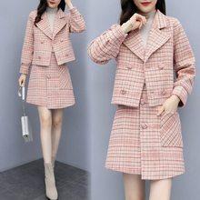 Женский винтажный клетчатый костюм, элегантный Блейзер и розовая мини-юбка, комплект из 2 предметов, женская одежда на осень и зиму(Китай)