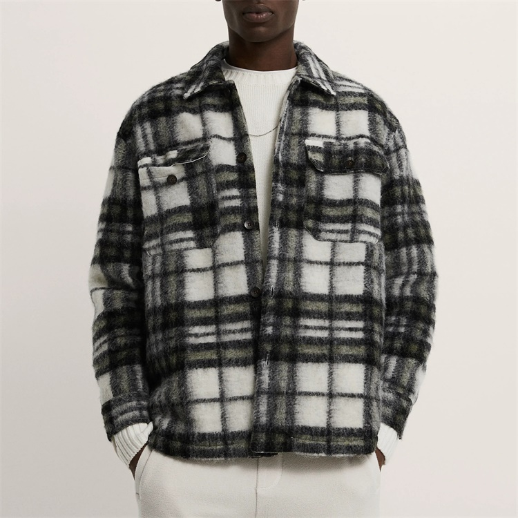 OEM Custom mens flannel tweed check overshirt with two patch pockets