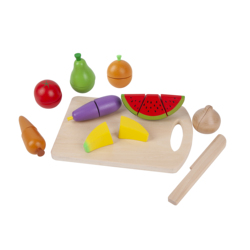 Kids Wooden Pretend Play Food Set Cuttable Kitchen Toys with Fruits Vegetables and Wooden Knife