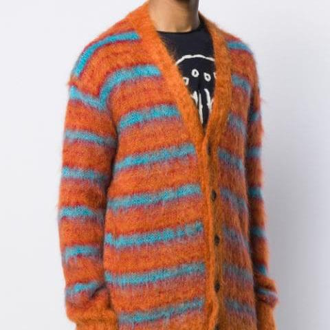 Kingsun mohair stripe fuzzy men designer sweater clothing crew neck sweater knitwear custom mohair cardigan