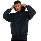 Cotton Black Hoodie Wholesale Men Vintage Inspired Wash 50% Cotton 50% Polyester Oversize Black Hoodie
