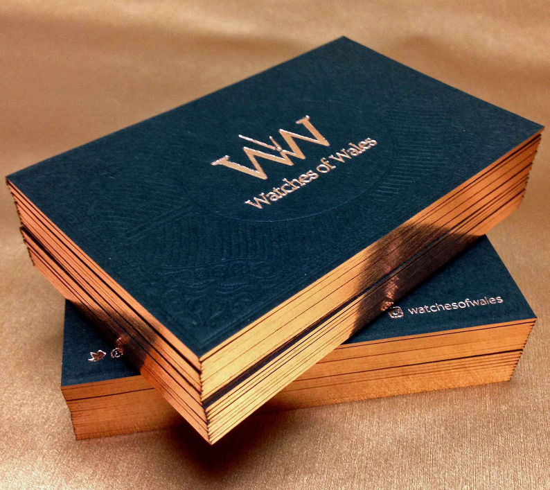 Luxury cotton paper Letterpress business cards printing, edge coloring debossed name cards