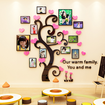 DIY Home Decor Black acrylic Photo Frame Tree Wall Decal Removable Self Adhesive Family Tree 3D Wall Stickers Decoration