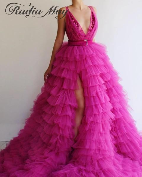 Ярко-розовые многоуровневые фатиновые Бальные платья для выпускного вечера 2020 сексуальные глубокий v-образный вырез высокий разрез дубайс...(Китай)