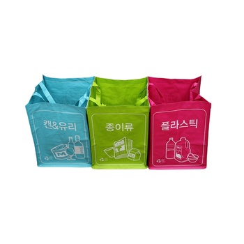 3pcs Per Sets Colorful Blue Red Green Korea Custom Waste Container Recycled Pp Woven Trash Bag