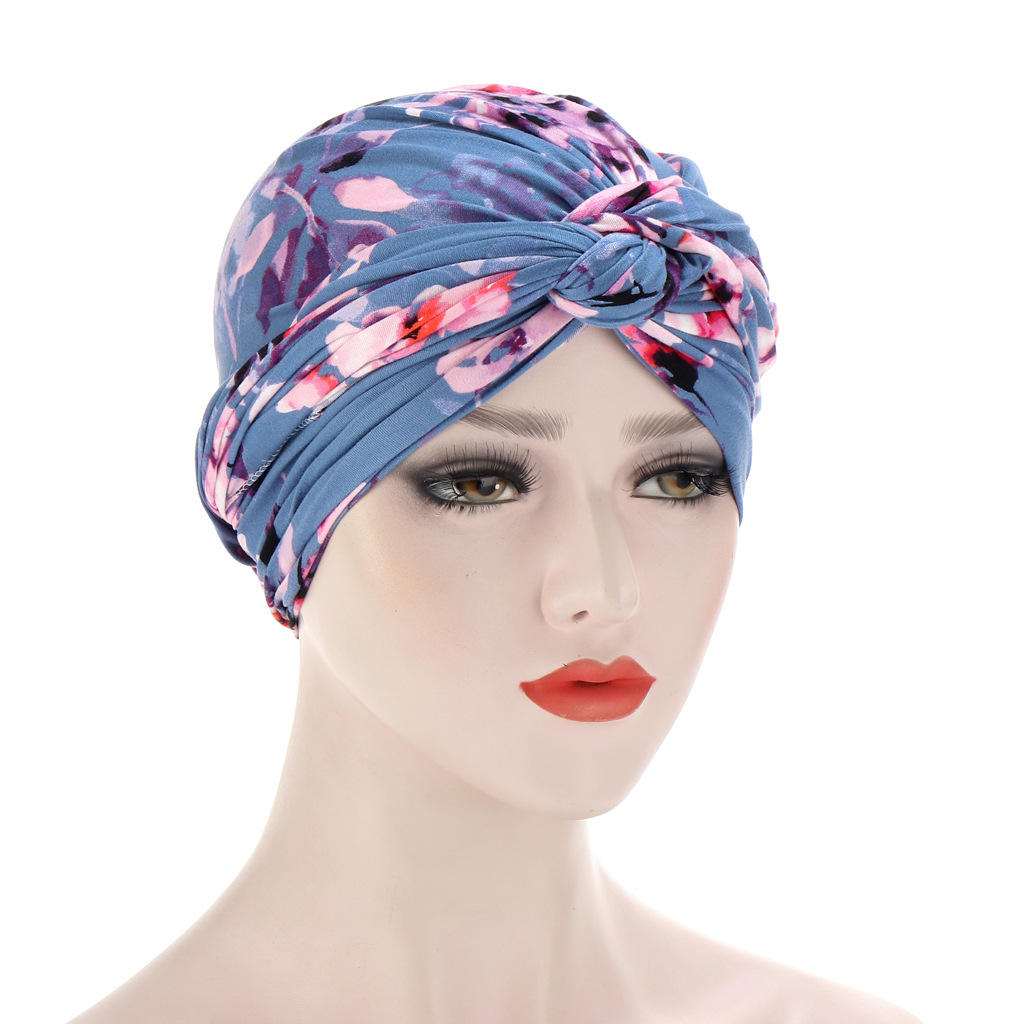 Fashion Women Knotted Print Turban Muslim Turban India Hat Ladies Chemo Cap Bandanas Hair Accessories Ladies Turban Hat