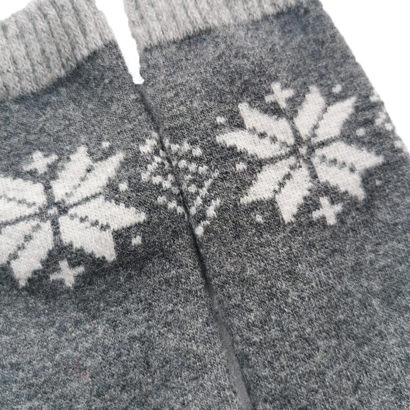 winter wool socks warm thick socks knitted snowflakes jacquard christmas socks