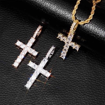 New Iced out Zircon Baguette Cross Pendant Chain Men's Hip hop Jewelry Gold Silver Color CZ Pendant Necklace Bling Cross Charms