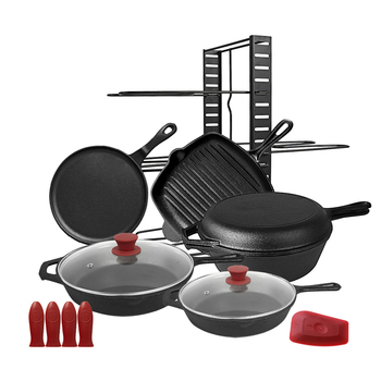 Wholesale amazon home kitchen custom cooking grill griddle pizza pan dutch oven pre-seasoned non stick cast iron cookware sets