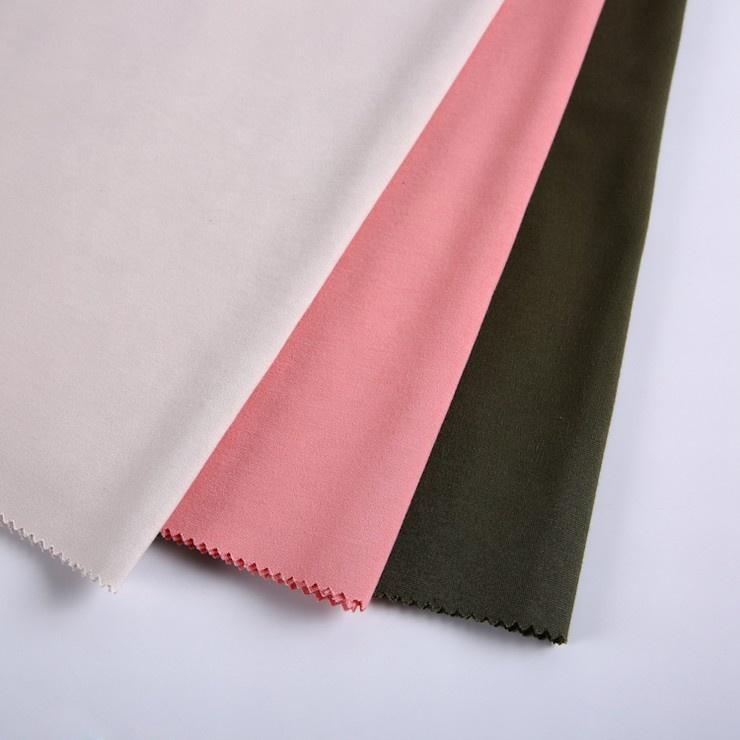 Hot sale pink nylon rayon plain ponte de roma knit fabric for garment