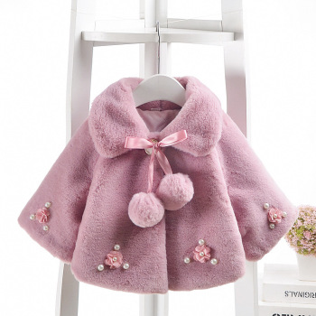 3 Colors Cute Girls Winter Coats Kids Fashion Thick Faux Fur Jacket For Baby Girls Children Clothes Outerwear Coats M227