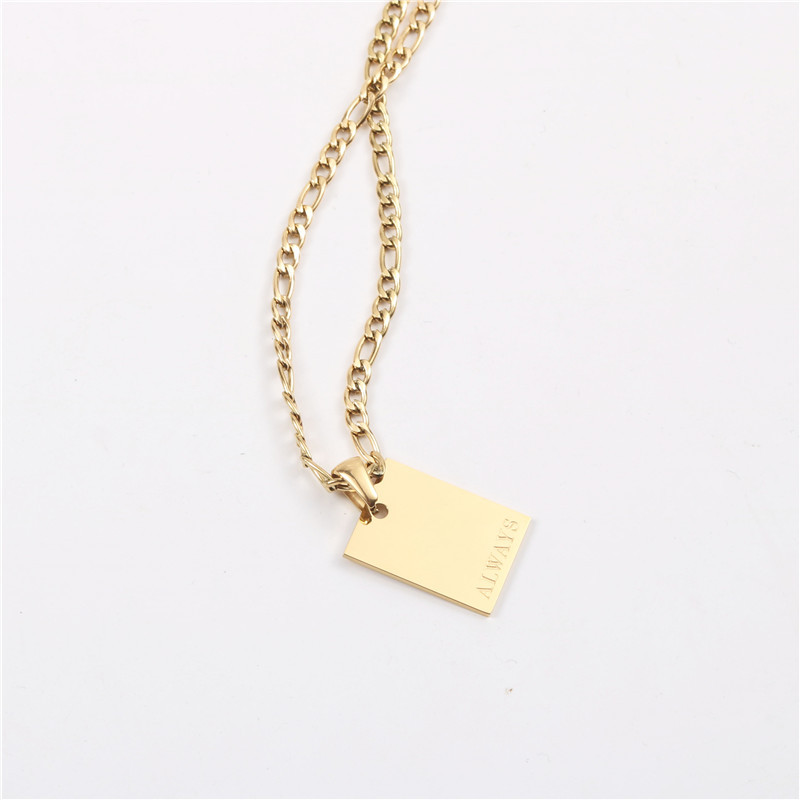 Stainless Steel Customized Geometric Jewelry Engraved Symbols Word Quotes Message Inspired Rectangle Pendant Necklace