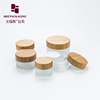 frosted glass jar with bamboo lid