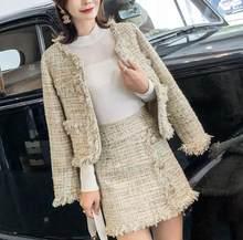 Женский дизайнерский формальный твидовый пиджак, короткое пальто, мини-юбка, 2 шт.(Китай)