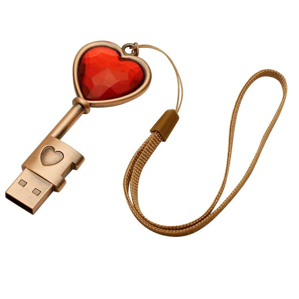 Popular New Heart Key Bronze Color Cheap 2.0 Memory Usb Flash Drive - USBSKY   USBSKY.NET