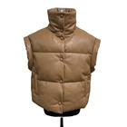 Premium Quality Oversize PU Leather Vest Warm PU Puffer Gilet For Women