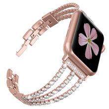 Алмазный ремешок для Apple Watch, 40 мм, 44 мм, блестящий браслет для ювелирных изделий из нержавеющей стали, для iWatch 5, 4, 3, 2, 1, 38, 42 мм(Китай)