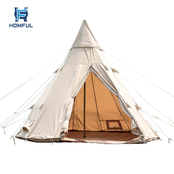 HOMFUL 6-7 Person Teepee Tent Family Camping Tents Tower Post Bell Tipi Tent