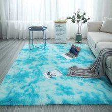 Новый европейский длинный ворс модный ковер для спальни эркер прикроватный коврик моющийся персональный одеяло градиент цвета ковер для г...(Китай)