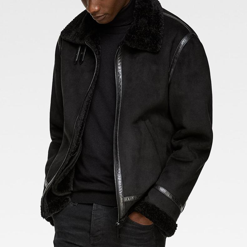 Custom berber fleece lining soft shell sherpa suede jacket for men