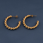 Minimalist retro women fashion costume jewelry alloy twisted Spiral shape gold plated rope aretes hoop 2021 trending earrings