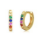 925 Sterling Silver 14K Gold Plated Color Crystal Tiny Small Rainbow Huggie Earrings