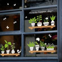 Растения стекло в горшке магазин наклейки на окна цветочный горшок DIY настенные наклейки домашний декор кафе водонепроницаемые обои домашн...(Китай)