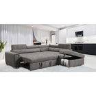 Factory Cheap Price Leather Corner Sofa Bed Folding With Storage Ottoman Sofa Cum Bed