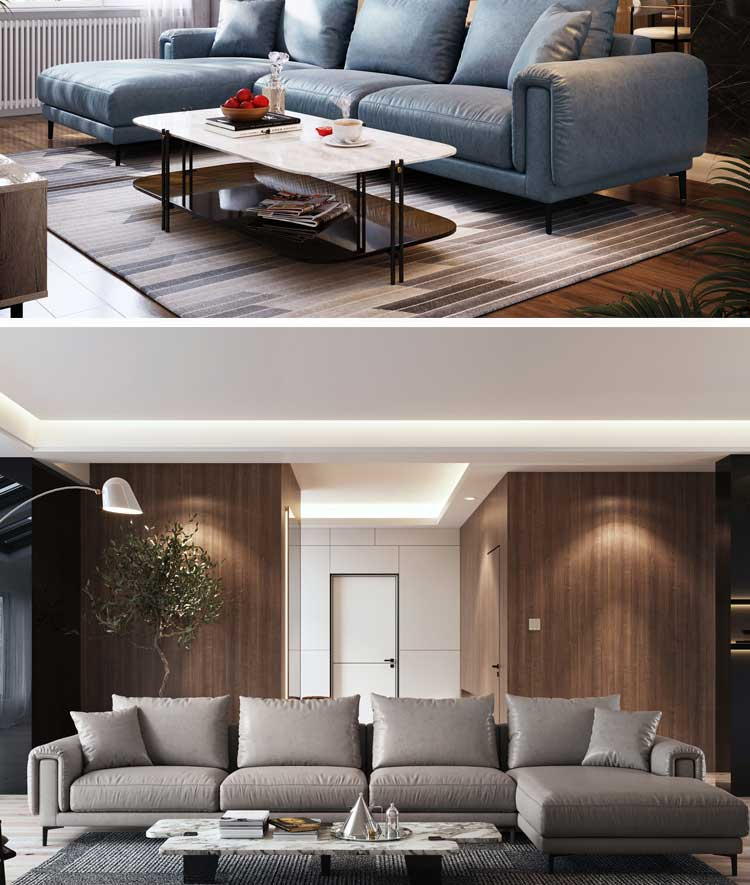 Linsy Modern Minimalist Net Nordic Living Room Set Sectional Fabric Upholstery Sofa S053