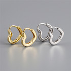 SP Wholesale High Quality 18K Gold Rhodium Plated Sterling Silver Hoop S925 Small Heart Earrings For Ladies