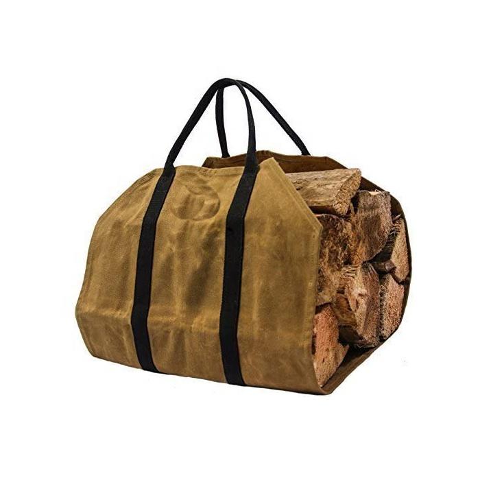 Хорошая сумка-тоут для больших нагрузок, вощеная холщовая переноска для дрова