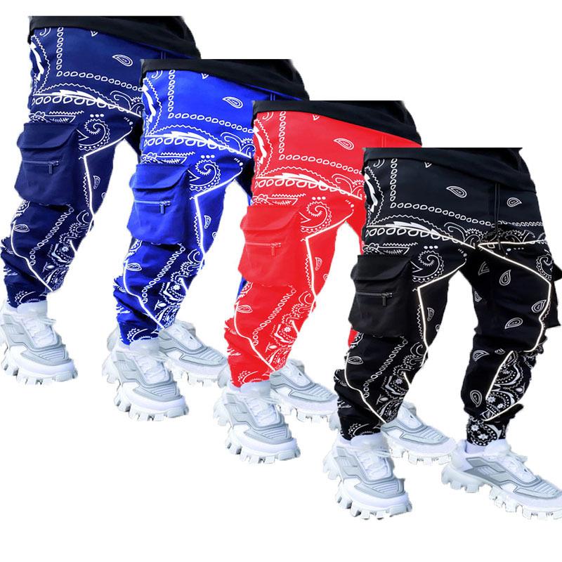 Wholesale Paisley design casual long sport pants bandana print mens bandana pants clothes High Street slim running trousers men