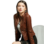 Genuine Leather Jacket Woman Brown Genuine Leather Slim Fit High Quality Custom Design Cheap Warm Comfortable Durable Jacket For Woman Jacket Winter Casual