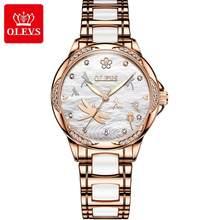 Новинка 2020!OLEVS женские часы, водонепроницаемые автоматические механические Женские часы, керамические часы, подарок для женщин(China)