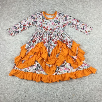 hot sale baby girls boutique ruffle dress fall pattern Christmas Valentine toddler party dress frock
