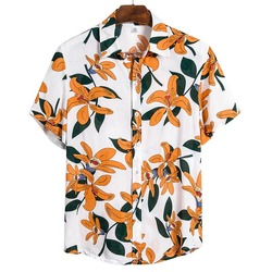 2021 New Arrival Men's Shirts Men Hawaiian Camicias Casual One Button Wild Shirts Printed hip hop Short-sleeve Blouses Tops