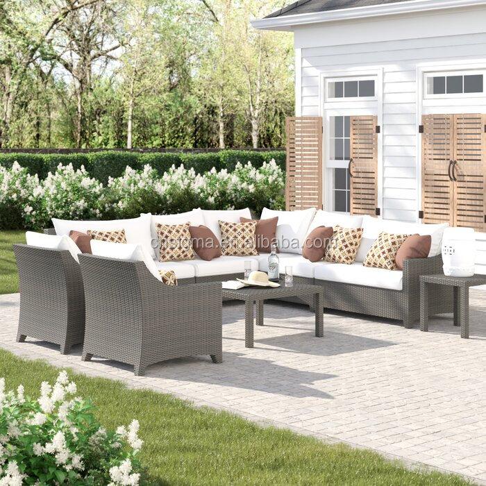 Уличная мебель, садовая L-образная Секционная группа сидений из ротанга из 9 предметов с подушками