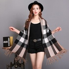 Cotton Long Scarf Stock Winter Poncho With Sleeves For Ladies Khaki Viscose Cotton Long Plaid Pattern Scarf Wool Shawl