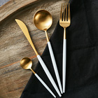 Cutlery Tableware Dishware Dinnerware Luxury Stainless Steel Knife Fork Spoon Gold Wedding Flatware Gold Cutlery Set