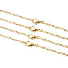 Цепочка 3 мм с застежкой-Омаром, золотое, античное, бронзовое, круглое, 60 см, для изготовления ювелирных изделий, 10 шт./лот(Китай)
