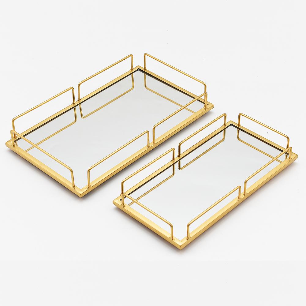 Европейский стеклянный зеркальный Золотой Серебряный Роскошный поднос, сервировочный металлический каркас, прямоугольный Свадебный Праздничный поднос для хранения ювелирных изделий