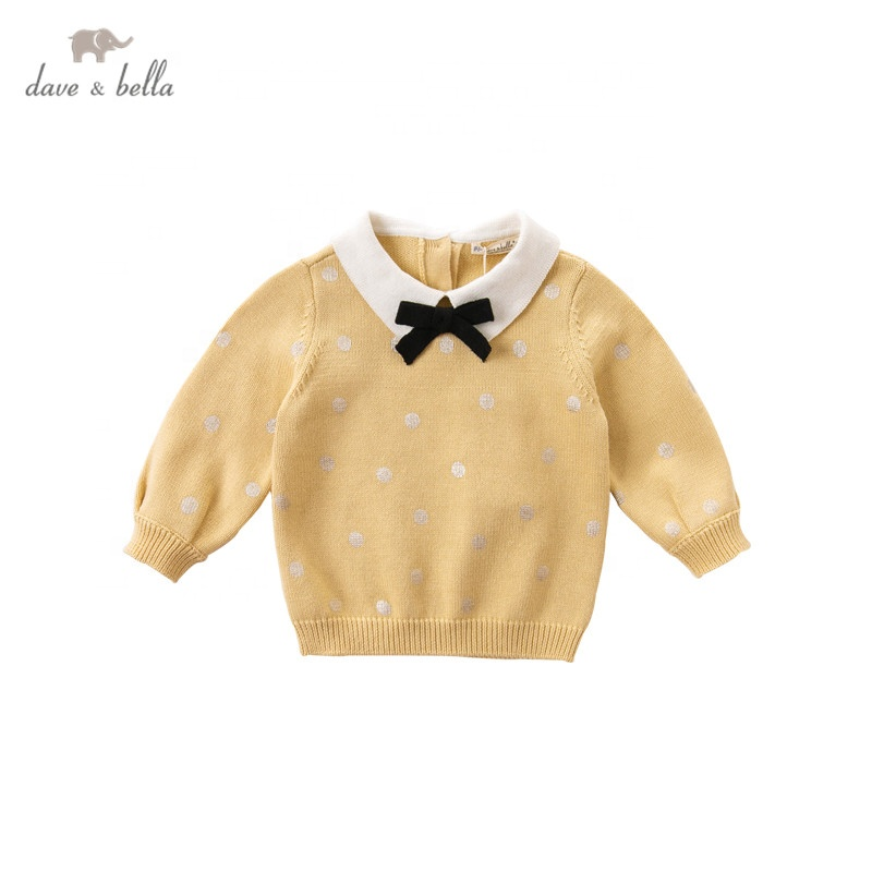DBM14800-1dave bella autumn baby girls pullover tops infant clothes toddler children knitted Sweater